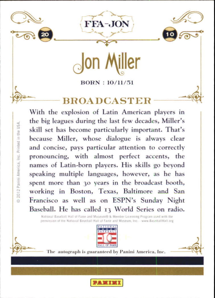 2012 Panini Cooperstown Signatures #92 Jon Miller/500 back image