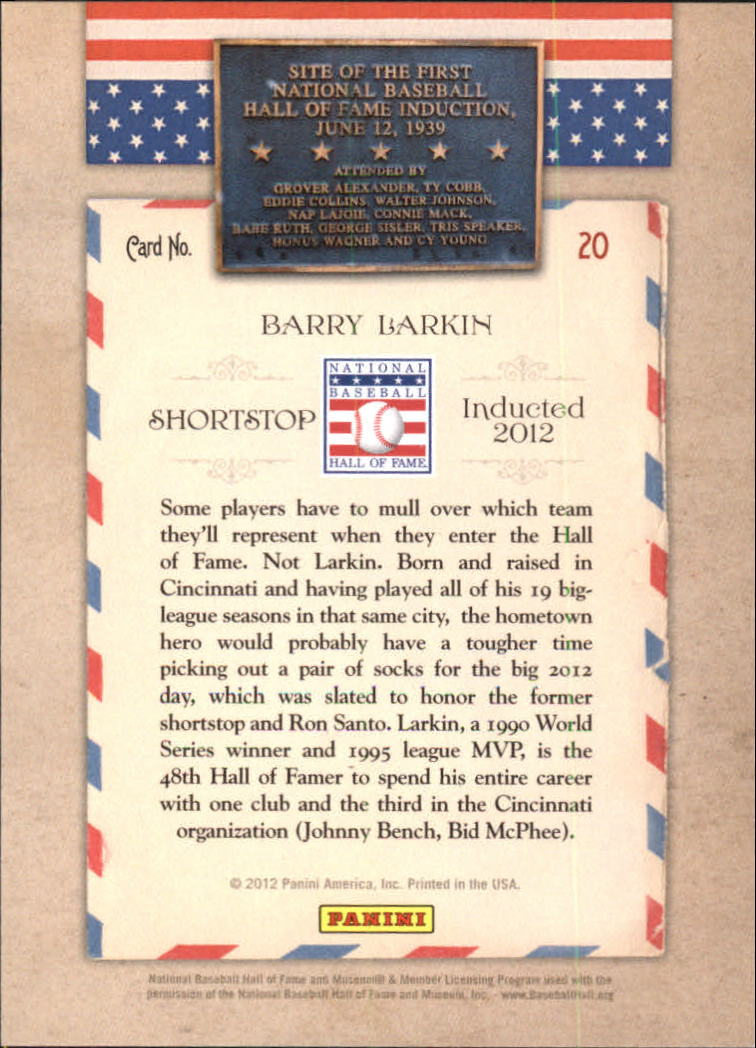 2012 Panini Cooperstown HOF Classes Induction Year #20 Barry Larkin