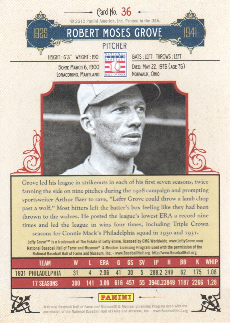 2012 Panini Cooperstown #36 Lefty Grove back image