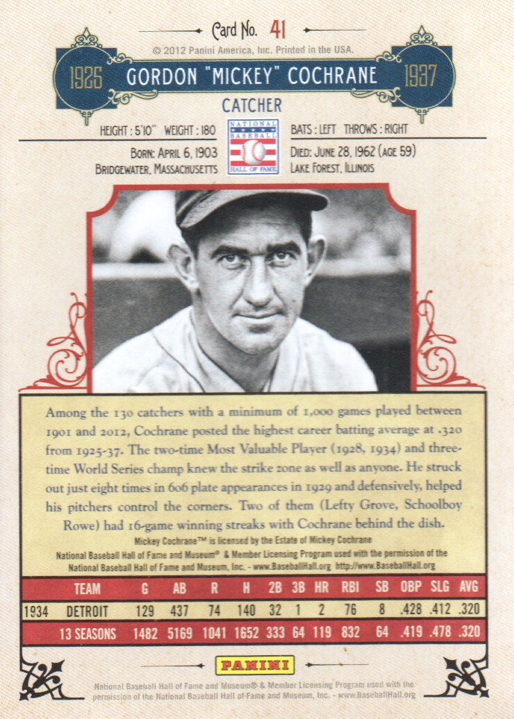 2012 Panini Cooperstown #41 Mickey Cochrane back image