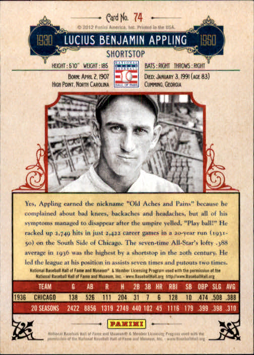 2012 Panini Cooperstown #74 Luke Appling