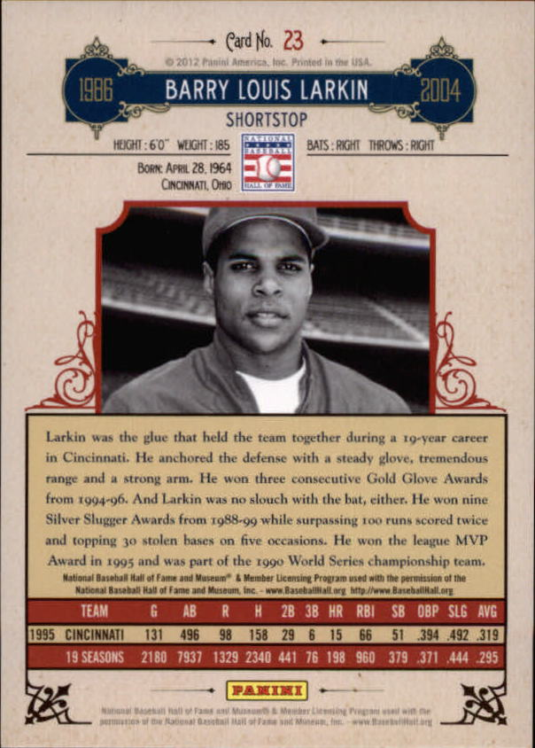 2012 Panini Cooperstown Crystal Collection #23 Barry Larkin