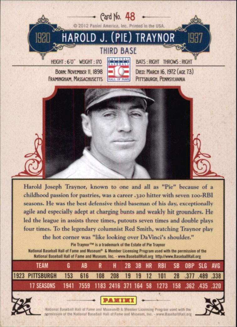 2012 Panini Cooperstown Crystal Collection #48 Pie Traynor