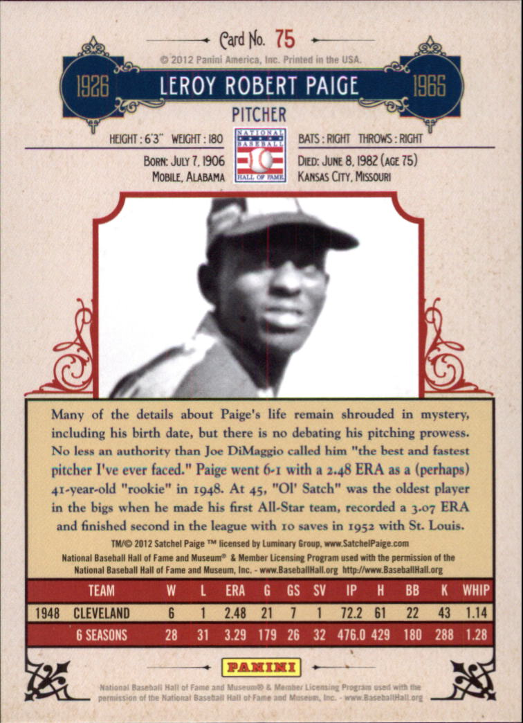 2012 Panini Cooperstown Crystal Collection #75 Satchel Paige