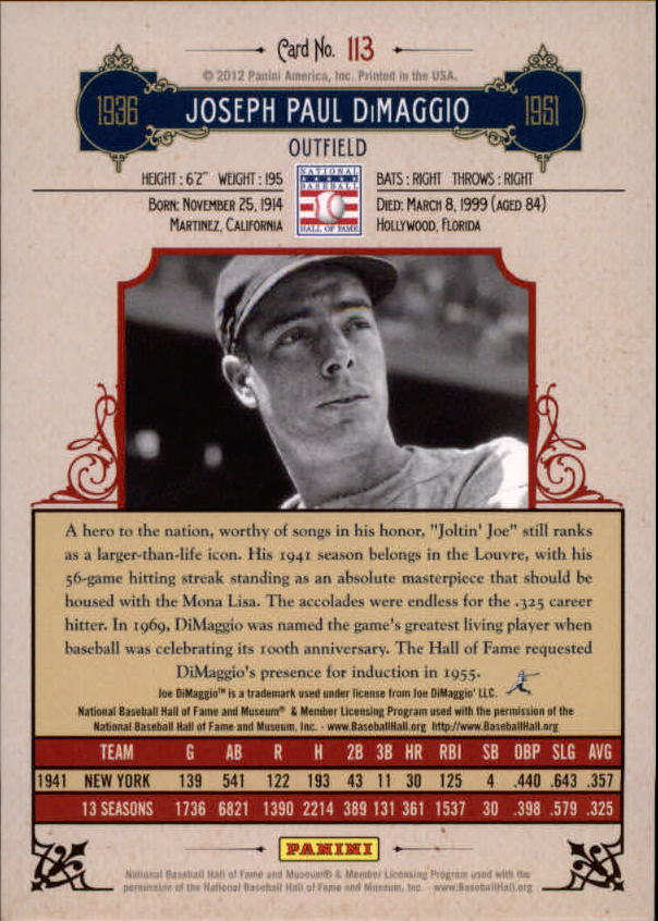 2012 Panini Cooperstown Crystal Collection #113 Joe DiMaggio