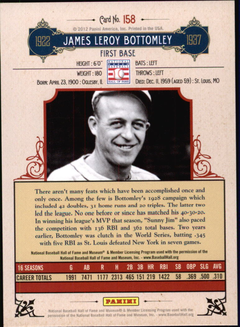 2012 Panini Cooperstown Crystal Collection #158 Jim Bottomley