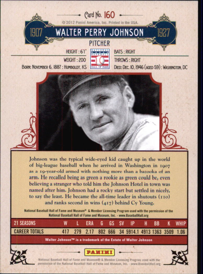 2012 Panini Cooperstown Crystal Collection #160 Walter Johnson