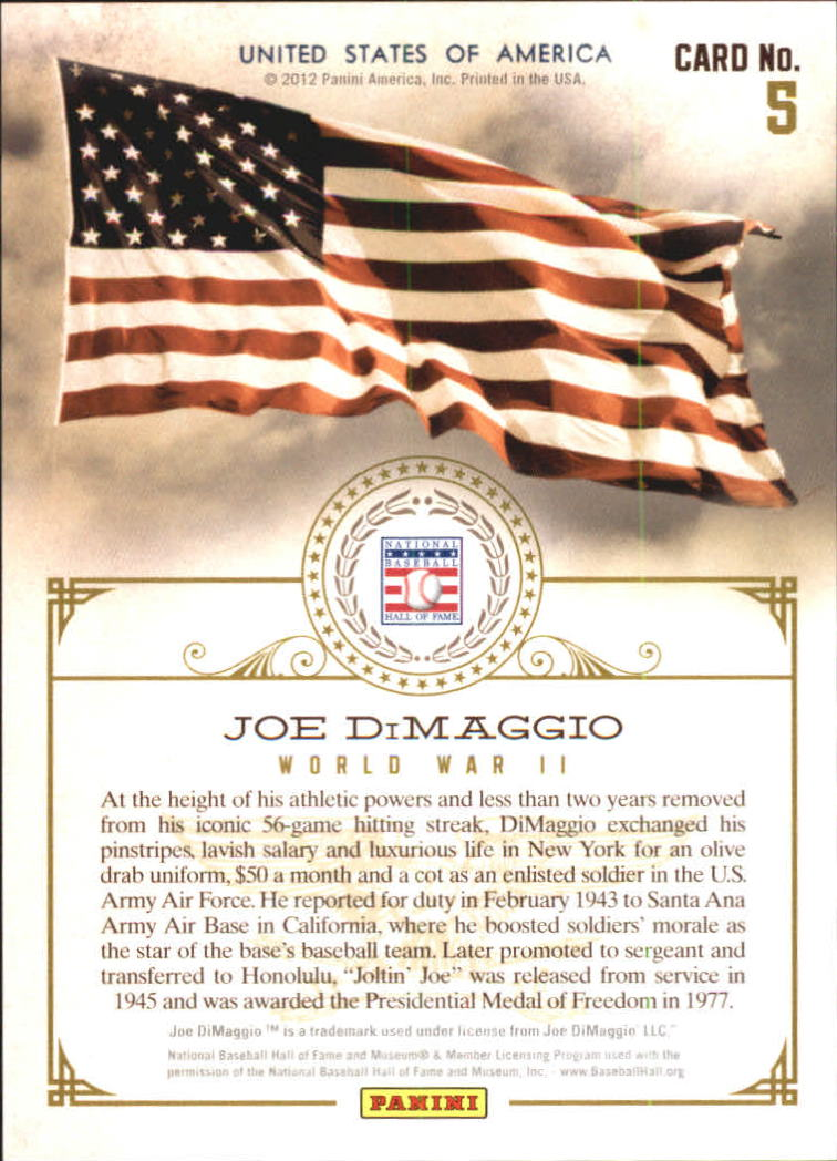 2012 Panini Cooperstown With Honors #5 Joe DiMaggio