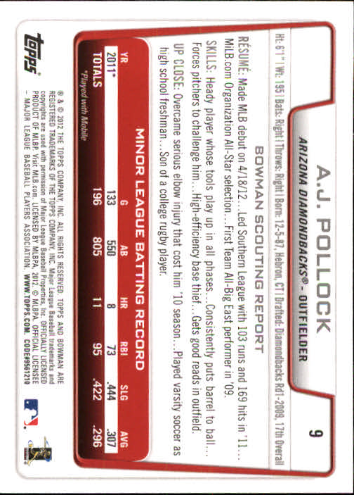 2012 Bowman Draft #9 A.J. Pollock RC