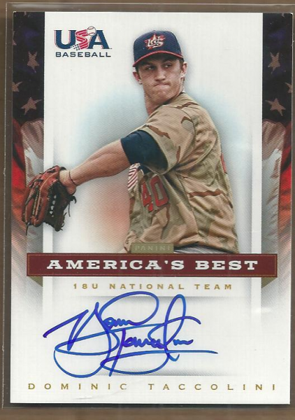2012 USA Baseball 18U National Team America's Best Signatures #18 Dominic Taccolini