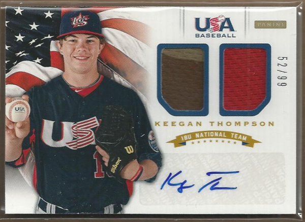 2012 USA Baseball 18U National Team Dual Jerseys Signatures #18 Keegan Thompson