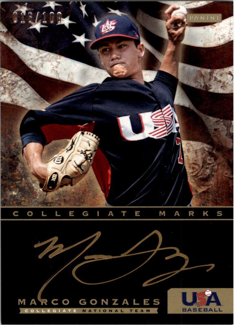 2012 USA Baseball Collegiate National Team Collegiate Marks Signatures #10 Marco Gonzales