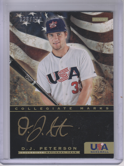 2012 USA Baseball Collegiate National Team Collegiate Marks Signatures #14 D.J. Peterson