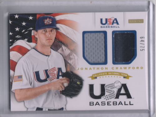 2012 USA Baseball Collegiate National Team Dual Jerseys #6 Jonathon Crawford