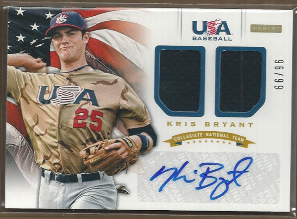 2012 USA Baseball Collegiate National Team Dual Jerseys Signatures #2 Kris Bryant