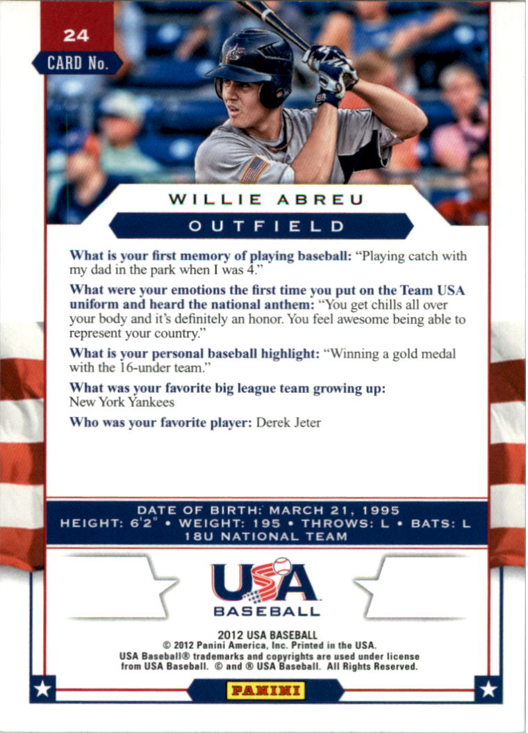2012 USA Baseball #24 Willie Abreu