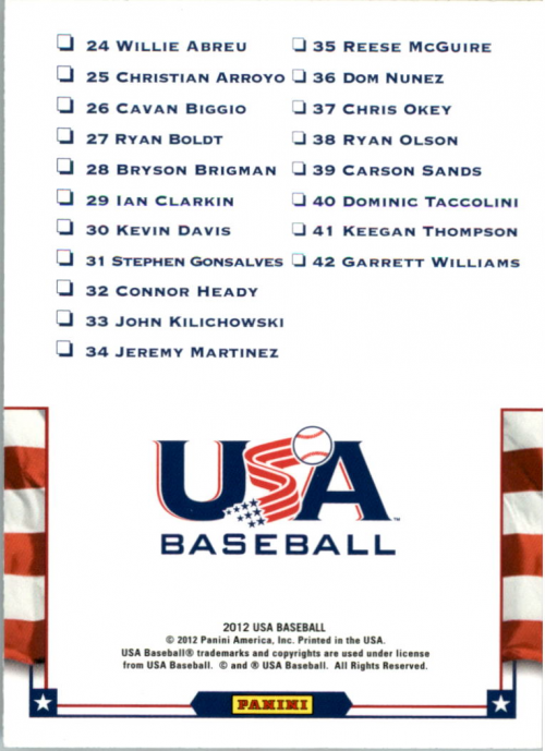 2012 USA Baseball Team Photo Checklists #2 18U National Team
