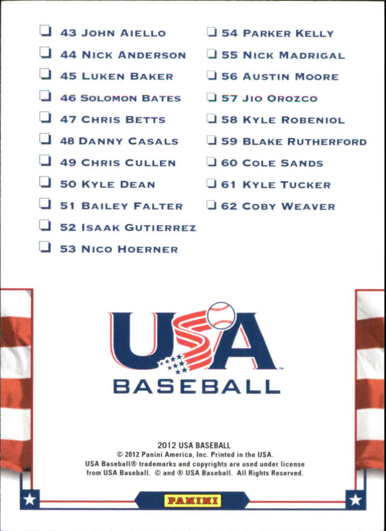 2012 USA Baseball Team Photo Checklists #3 15U National Team