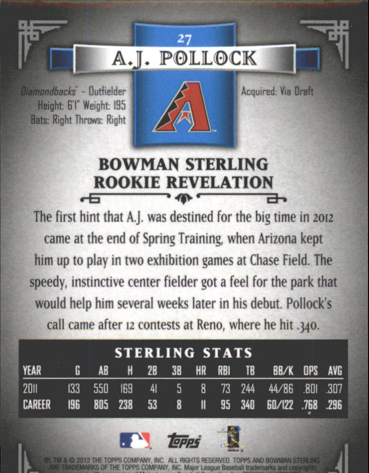 2012 Bowman Sterling #27 A.J. Pollock RC