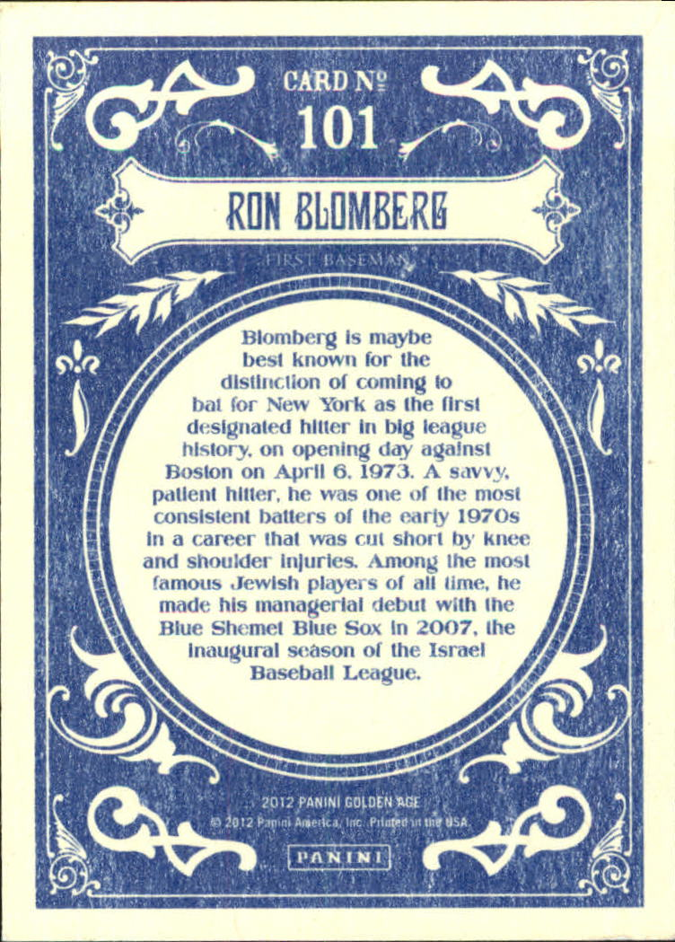 2012 Panini Golden Age White Border #101 Ron Blomberg