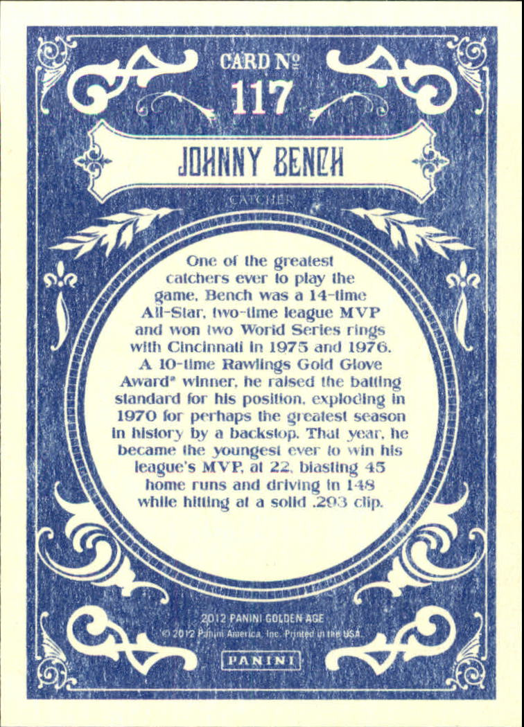 2012 Panini Golden Age White Border #117 Johnny Bench