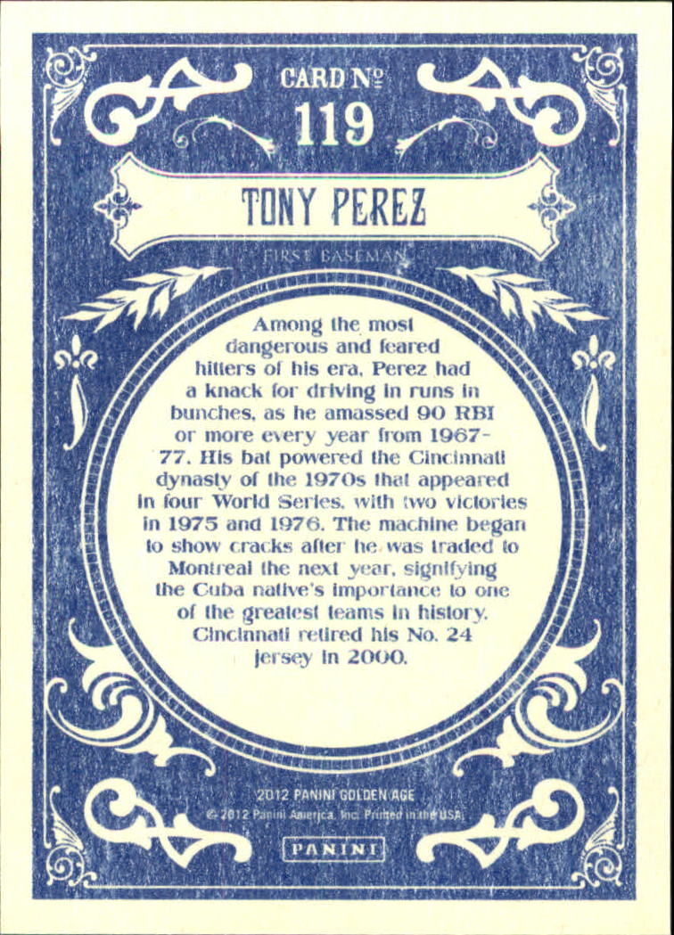 2012 Panini Golden Age White Border #119 Tony Perez