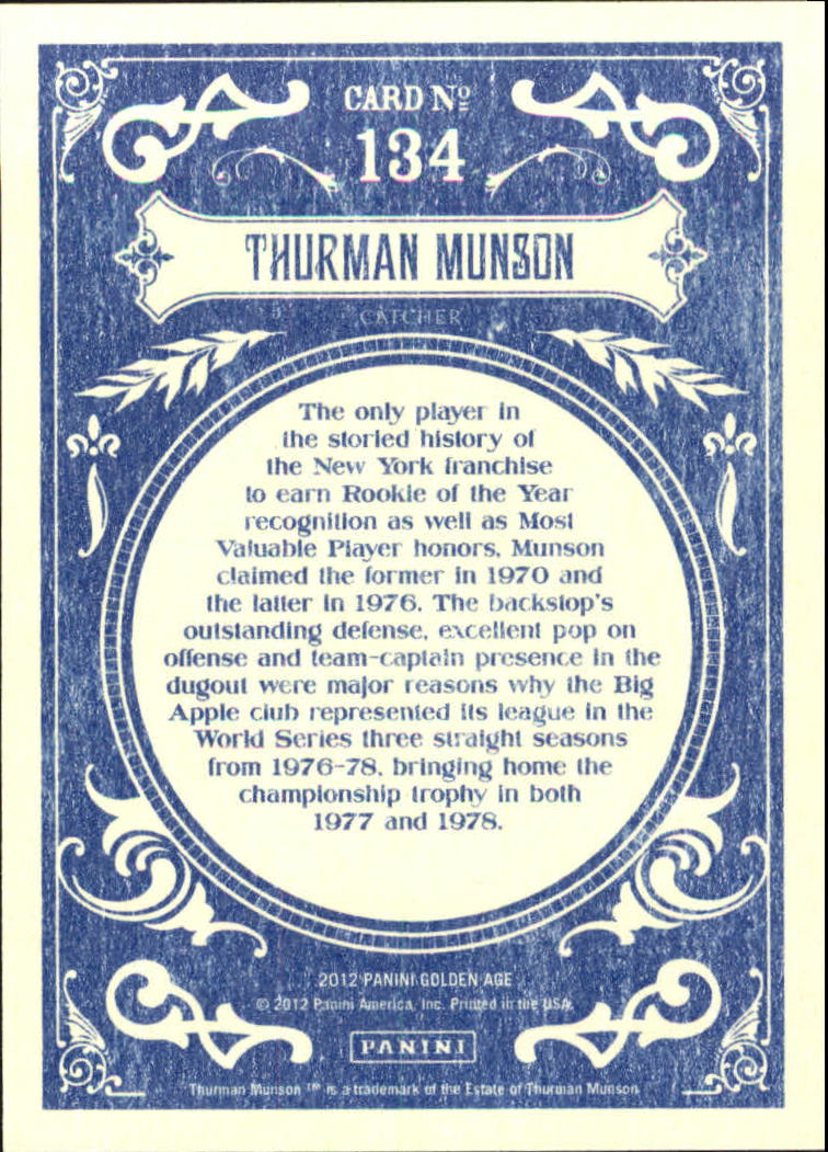 2012 Panini Golden Age White Border #134 Thurman Munson