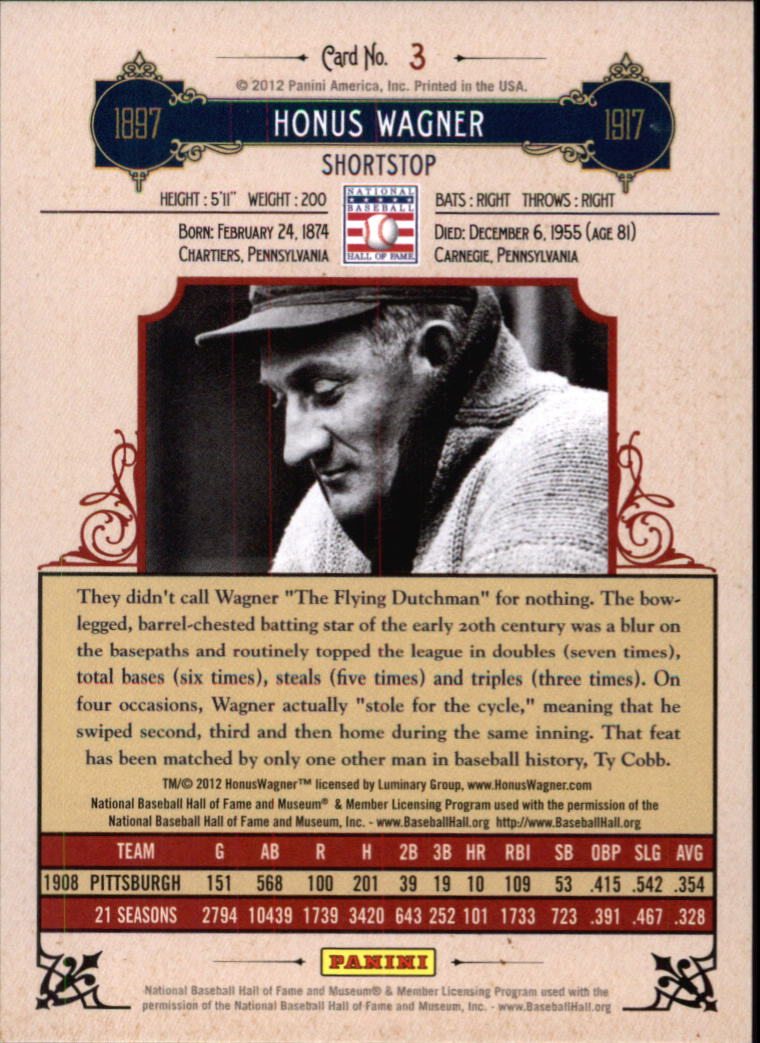 2012 Panini Cooperstown Crystal Collection Red #3 Honus Wagner