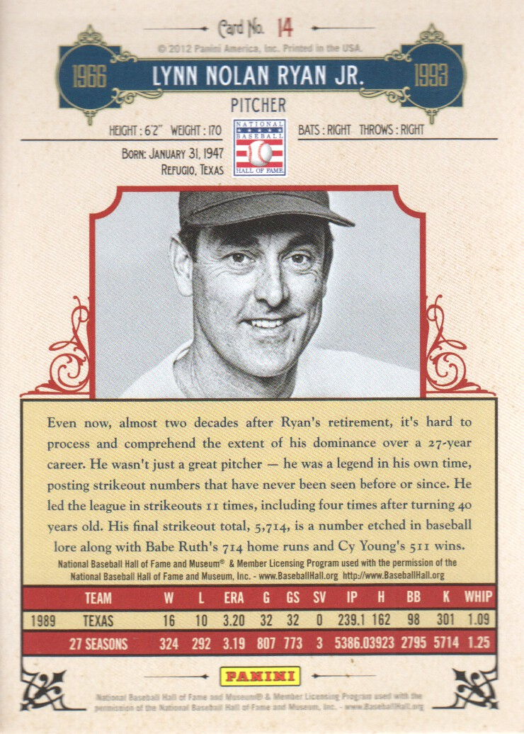 2012 Panini Cooperstown Crystal Collection Red #14 Nolan Ryan