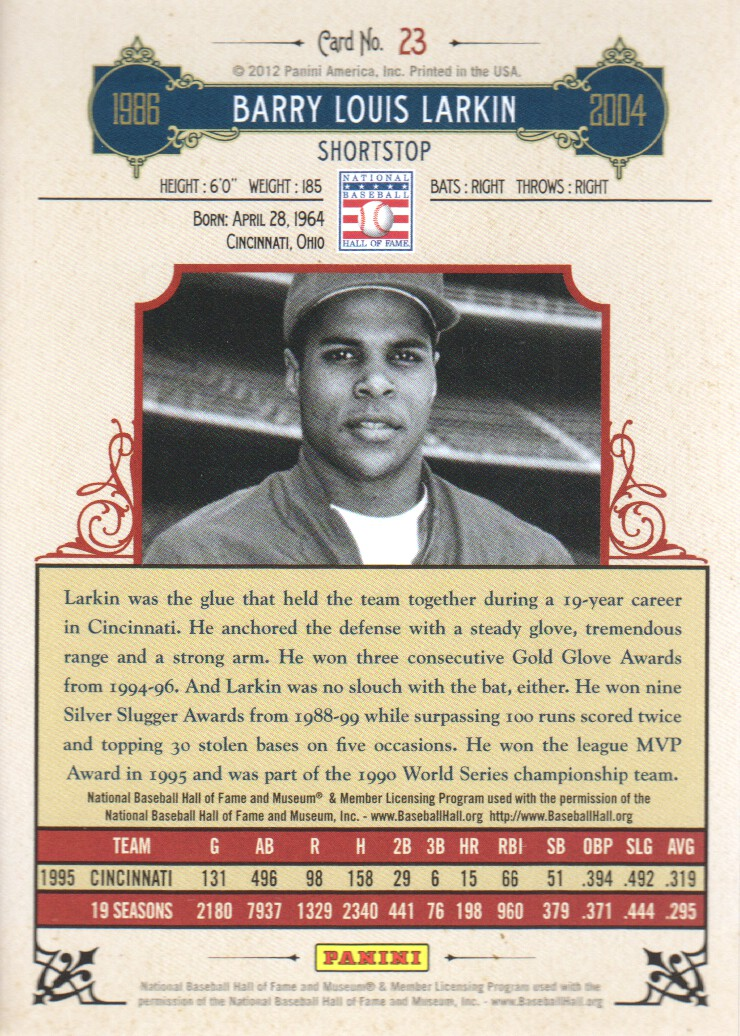 2012 Panini Cooperstown Crystal Collection Red #23 Barry Larkin