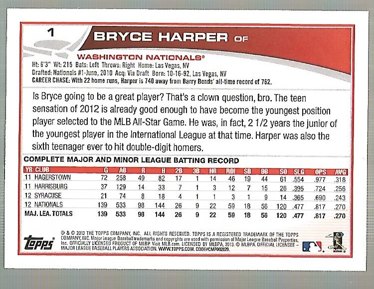 2013 Topps #1A Bryce Harper back image