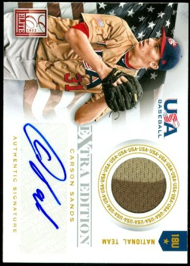 2012 Elite Extra Edition USA Baseball 18U Game Jersey Signatures #16 Carson Sands