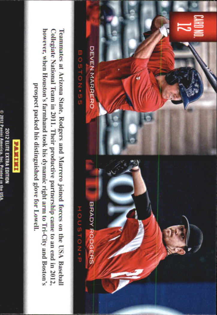 2012 Elite Extra Edition Building Blocks Dual #12 Brady Rodgers/Deven Marrero