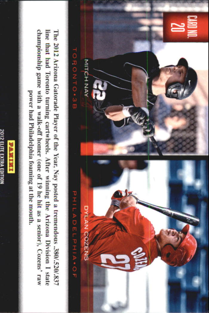 2012 Elite Extra Edition Building Blocks Dual #20 Dylan Cozens/Mitch Nay