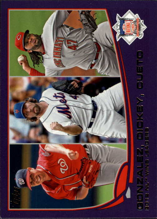 2013 Topps Toys R Us Purple Border #287 Johnny Cueto/Gio Gonzalez/R.A. Dickey