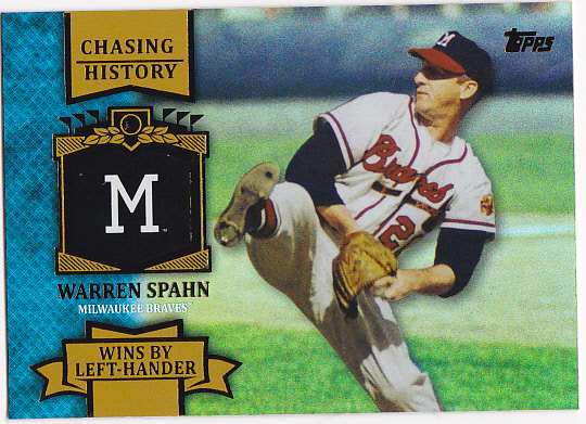 2013 Topps Chasing History Holofoil Gold #CH31 Warren Spahn