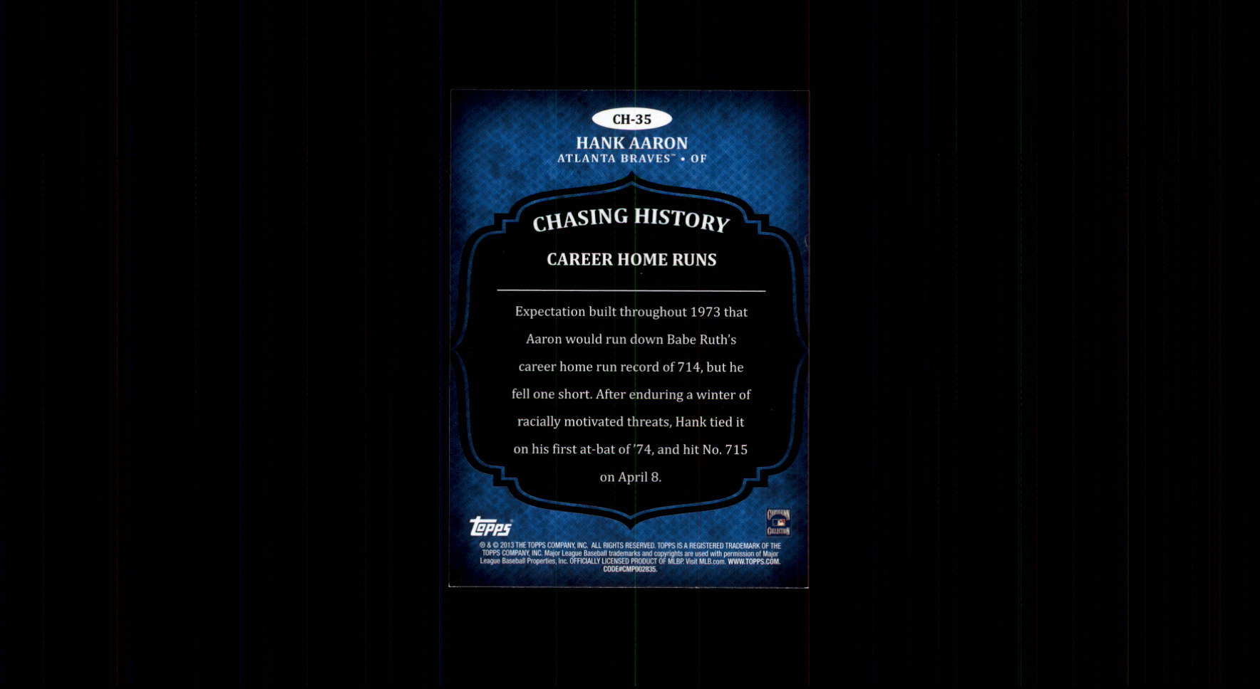 2013 Topps Chasing History Holofoil Gold #CH35 Hank Aaron
