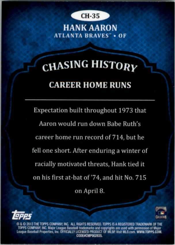 2013 Topps Chasing History Holofoil #CH35 Hank Aaron