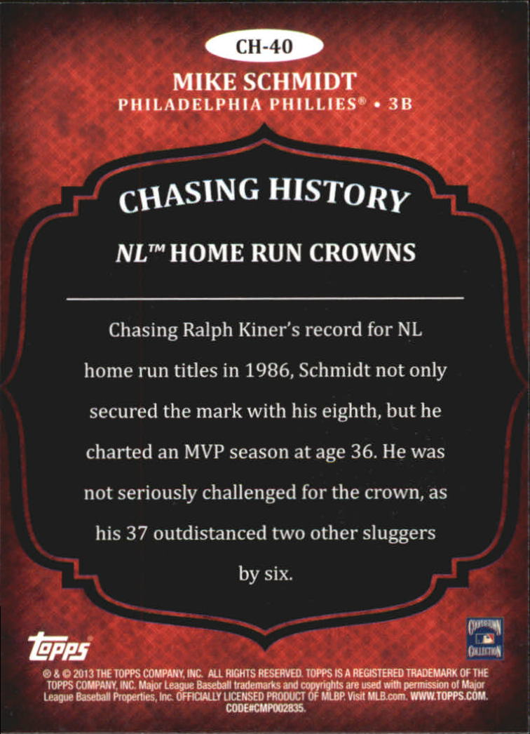 2013 Topps Chasing History Holofoil #CH40 Mike Schmidt