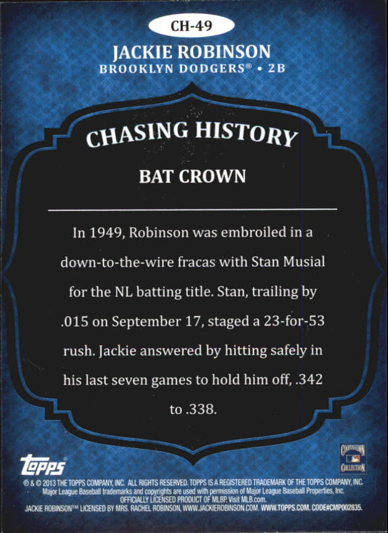 2013 Topps Chasing History Holofoil #CH49 Jackie Robinson