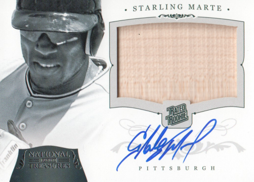 2012 Panini National Treasures #206 Starling Marte Jsy AU RC