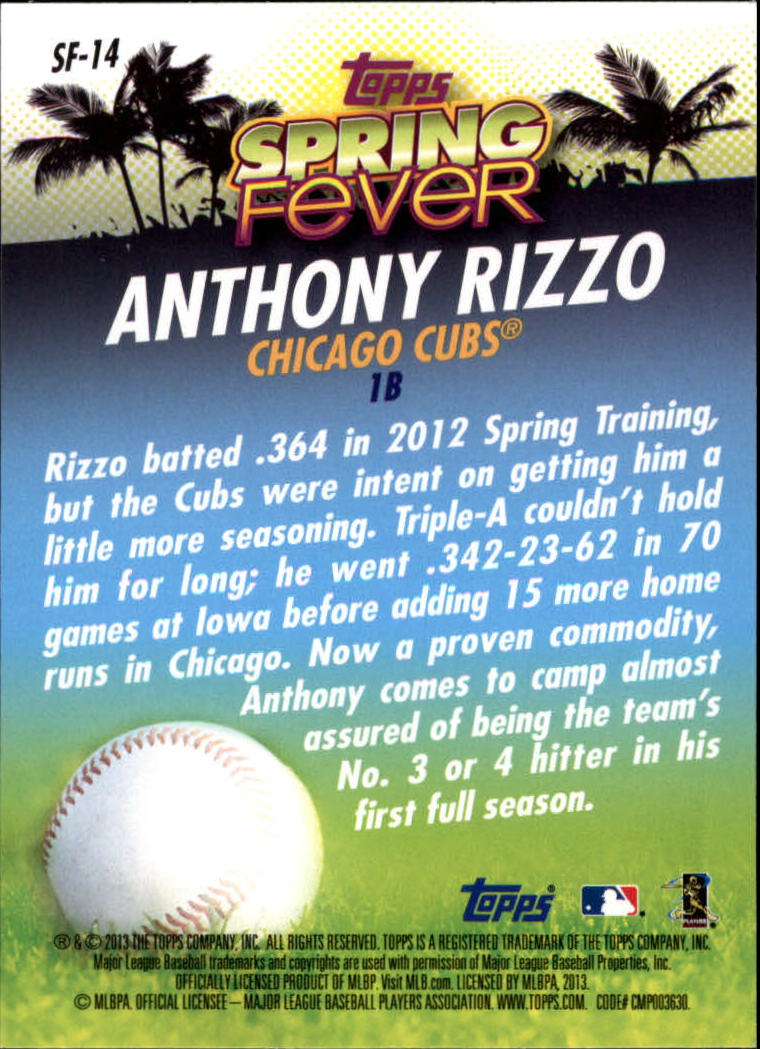 2013 Topps Spring Fever #SF14 Anthony Rizzo