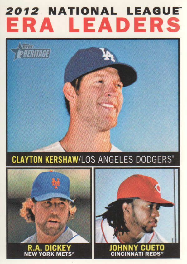 2013 Topps Heritage #1 Clayton Kershaw/R.A. Dickey/Johnny Cueto