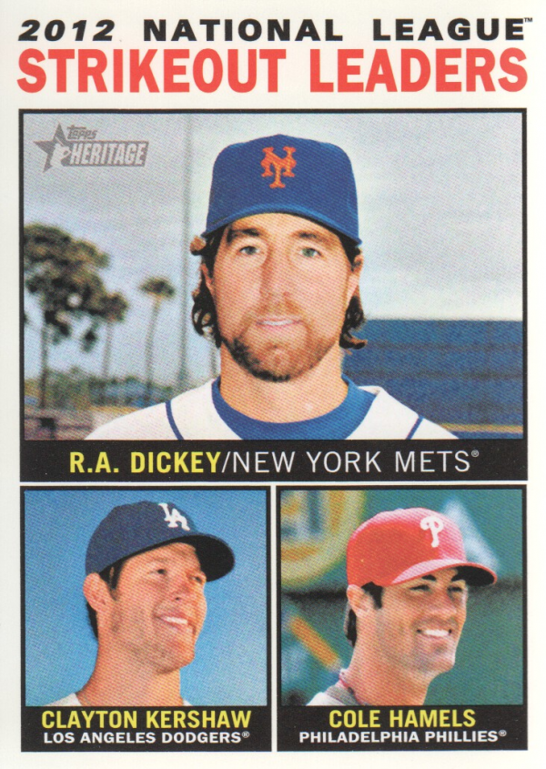 2013 Topps Heritage #5 R.A. Dickey/Clayton Kershaw/Cole Hamels