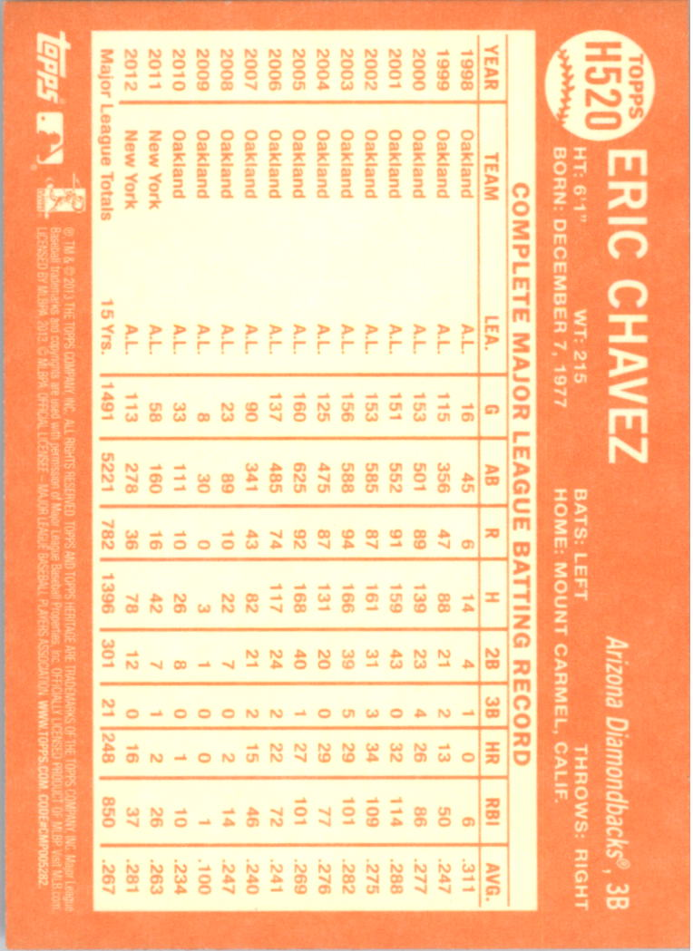 2013 Topps Heritage #H520 Eric Chavez