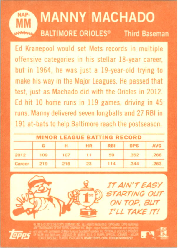 2013 Topps Heritage New Age Performers #MM Manny Machado
