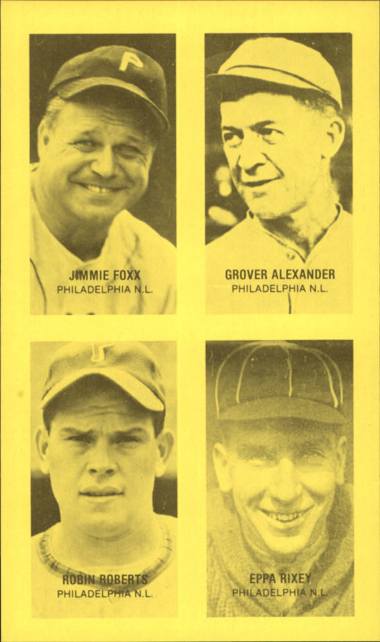 1977 Jim Rowe 4-in-1 Exhibits #6 Jimmie Foxx/Grover Alexander/Robin Roberts/Eppa Rixey