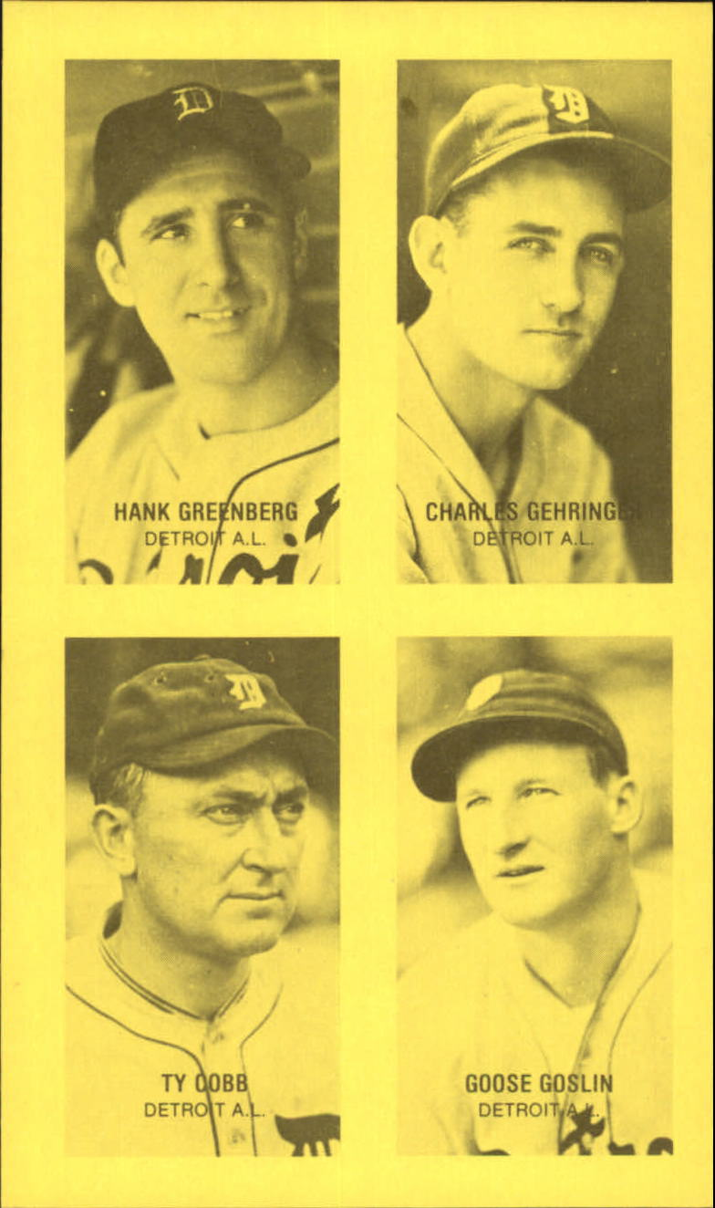 1977 Jim Rowe 4-in-1 Exhibits #7 Hank Greenberg/Charlie Gehringer/Ty Cobb/Goose Goslin
