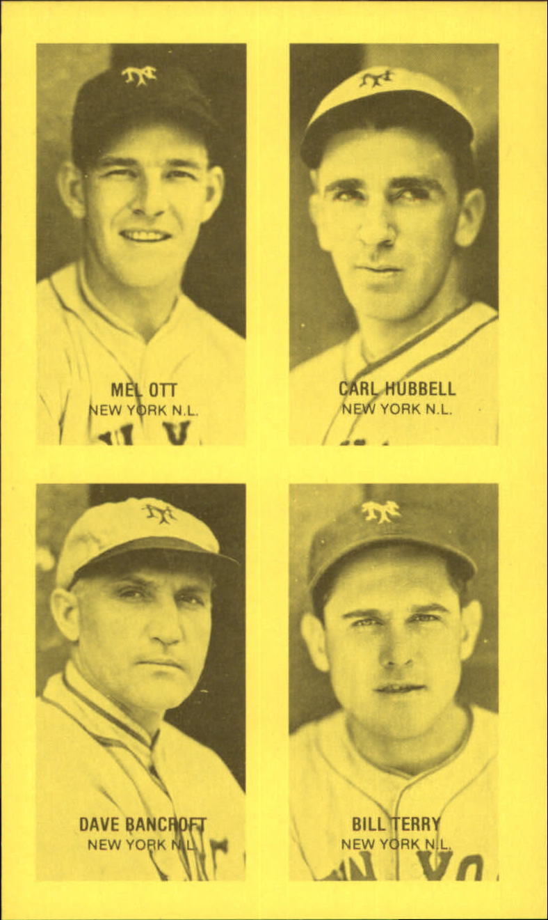1977 Jim Rowe 4-in-1 Exhibits #12 Mel Ott/Carl Hubbell/Dave Bancroft/Bill Terry