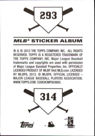 2013 Topps Stickers #293 Oakland Athletics/314 San Francisco Giants